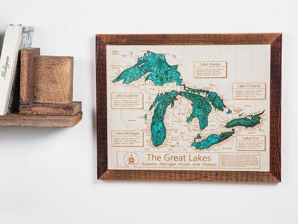 Personalized Wall Art And Cribbage Boards From Lake Art Inside Lake Map Wall Art (View 9 of 20)