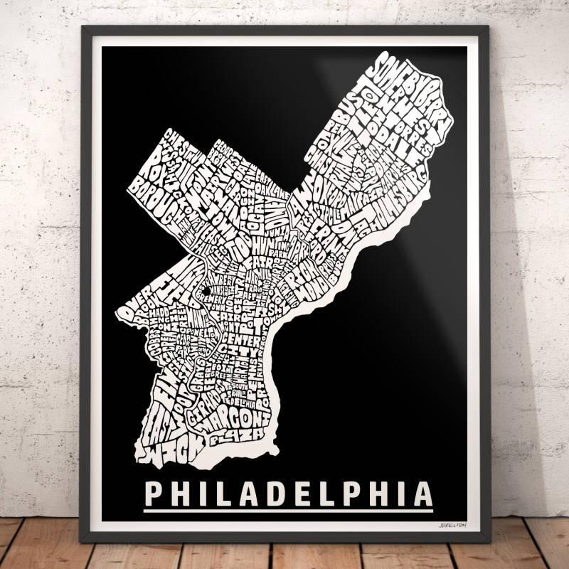 Philadelphia Map Art Philadelphia Art Print Philadelphia Intended For Philadelphia Map Wall Art (Image 14 of 20)