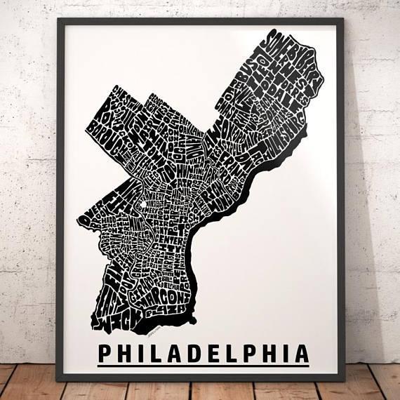Philadelphia Map Art Philadelphia Art Print Philadelphia Regarding Philadelphia Map Wall Art (Image 15 of 20)