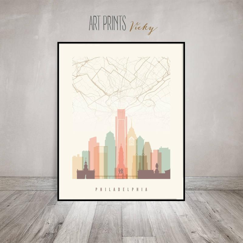 Philadelphia Map, Philadelphia Skyline Art Print, Poster, Wall Art For Philadelphia Map Wall Art (Image 20 of 20)