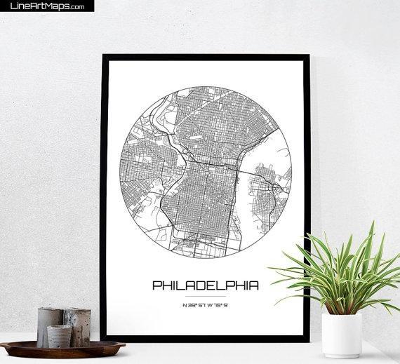 Philadelphia Map Print City Map Art Of Philadelphia With Regard To Philadelphia Map Wall Art (Image 18 of 20)