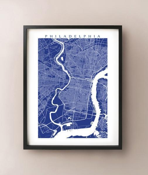 Philadelphia Map Print, Philly Art Poster,cartocreative On Zibbet Within Philadelphia Map Wall Art (View 6 of 20)
