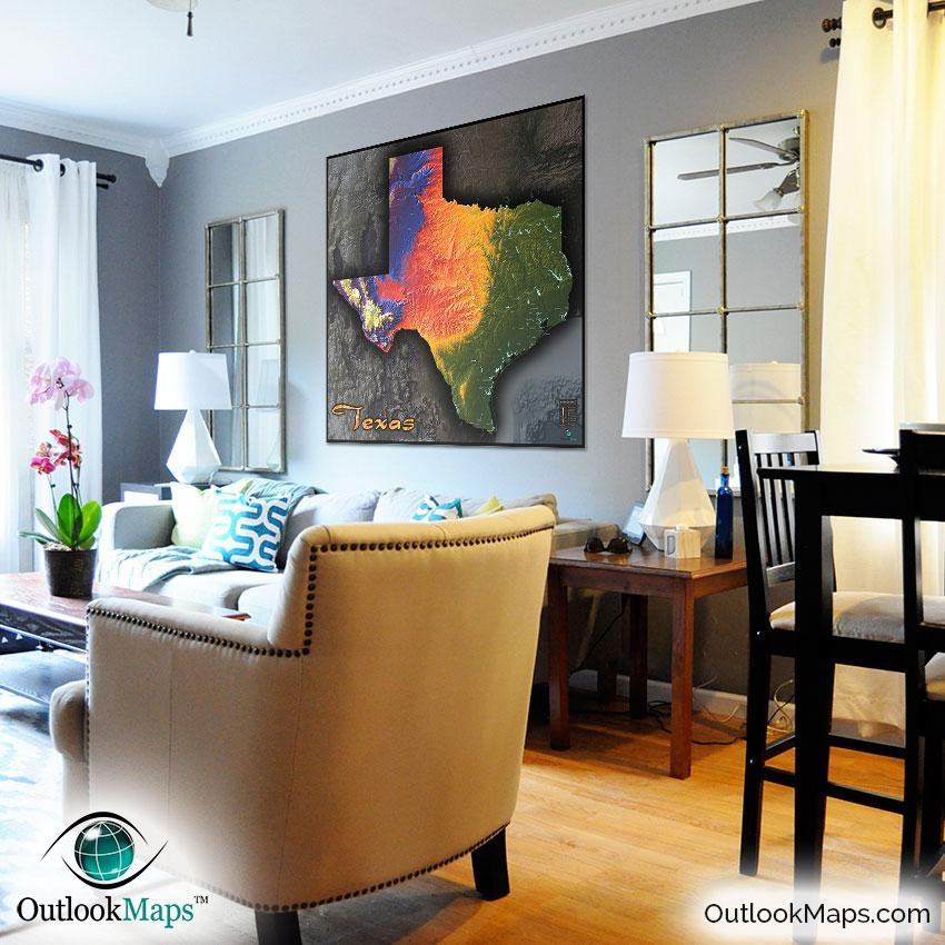Physical Texas Map | State Topography In Colorful 3D Style Regarding Texas Map Wall Art (Image 11 of 20)