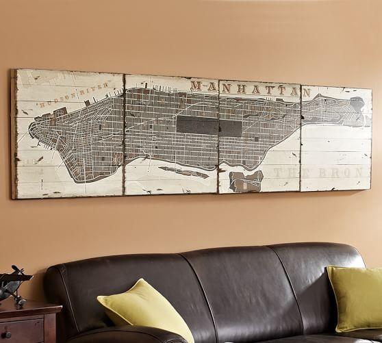 Pieced Manhattan Wood | Pottery Barn Throughout Manhattan Map Wall Art (View 2 of 20)