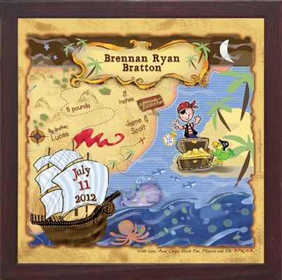 Pirate Nursery Art | Personalized Gifts | Unique Boys Room Decor With Regard To Treasure Map Wall Art (Image 9 of 20)
