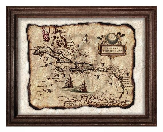 Pirate Treasure Map Artold Map Art Parchment Artantique Within Treasure Map Wall Art (Image 10 of 20)