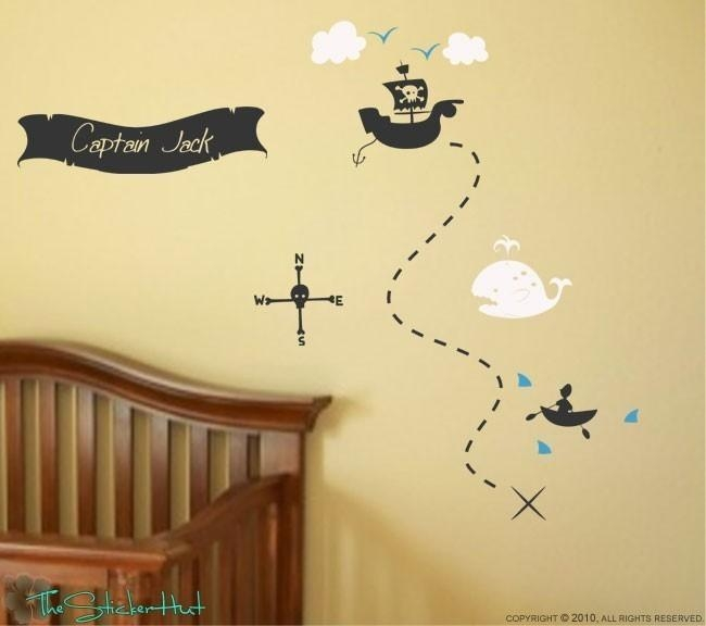 Pirate Treasure Map Your Name Boys Room Nursery Vinyl With Treasure Map Wall Art (Image 11 of 20)