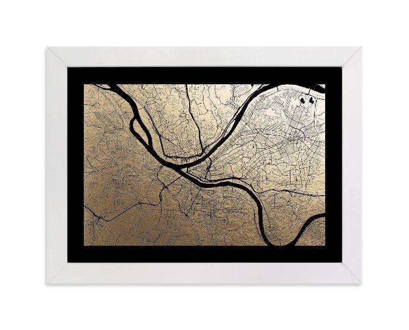 Pittsburgh Map Foil Pressed Wall Artalex Elko Design | Minted In Pittsburgh Map Wall Art (View 2 of 20)