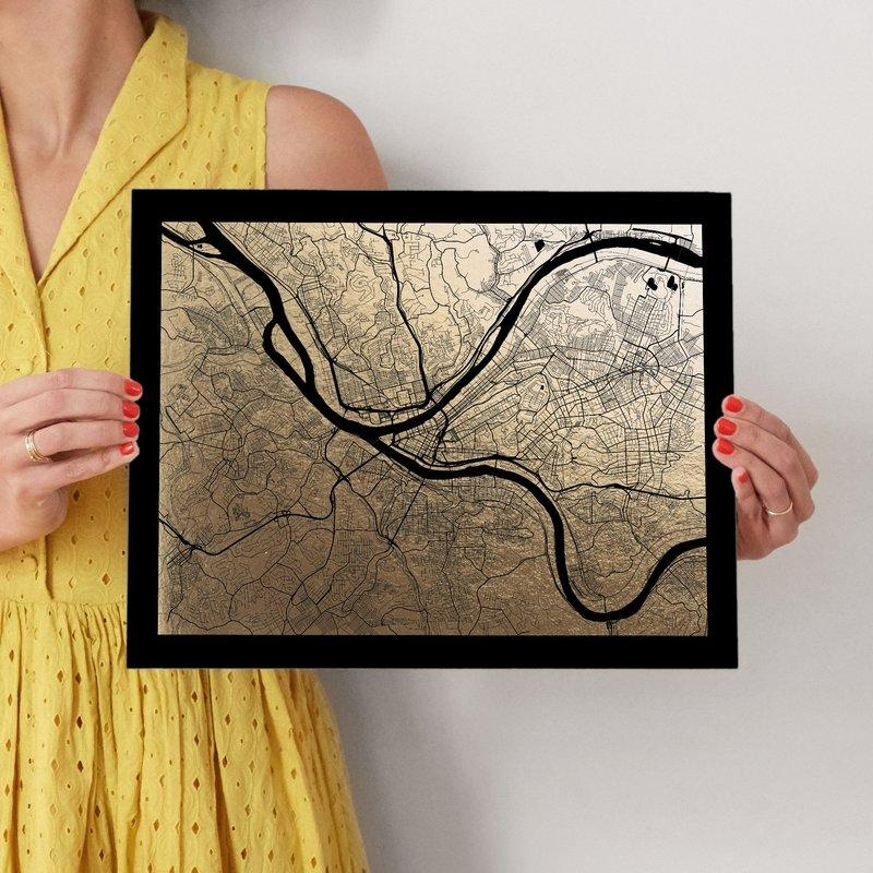 Pittsburgh Map Foil Pressed Wall Artalex Elko Design | Minted Throughout Pittsburgh Map Wall Art (Image 15 of 20)