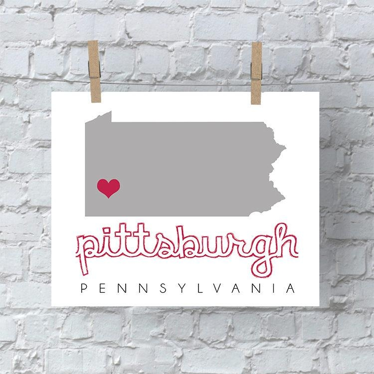 Pittsburgh Map Wall Art, Pittsburgh Wall Art, Printable Map Wall Pertaining To Pittsburgh Map Wall Art (Image 18 of 20)