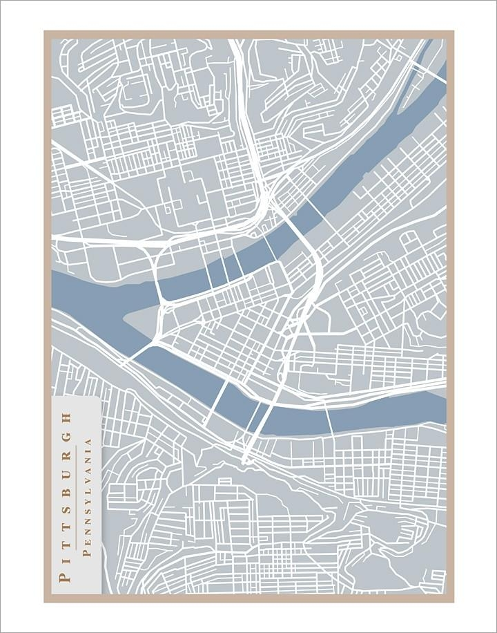 Pittsburgh Street Map 11X14 Print Pittsburgh Art Wall Pertaining To Street Map Wall Art (Image 18 of 20)