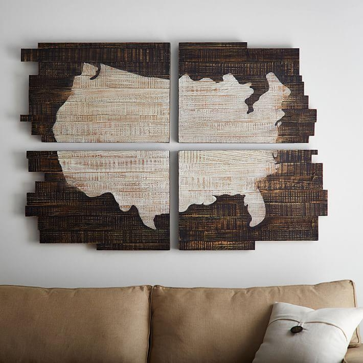 Planked Usa Wall Art Panels | Pottery Barn In Wood Map Wall Art (Image 6 of 20)