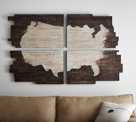 Planked Usa Wall Art Panels | Pottery Barn Pertaining To Usa Map Wall Art (Image 3 of 20)