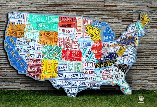 Plate Map Of The Usa With License Plate Map Wall Art (Image 6 of 20)