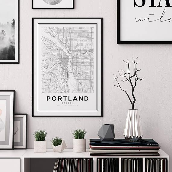 Portland City Map Print Oregon Map Print Us Map Print Map Regarding Portland Map Wall Art (Image 9 of 20)