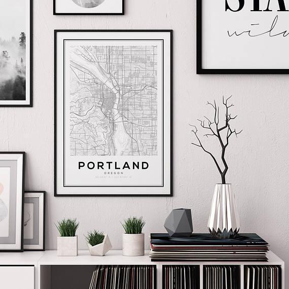 Portland City Map Print Oregon Map Print Us Map Print Map Regarding Portland Map Wall Art (View 17 of 20)