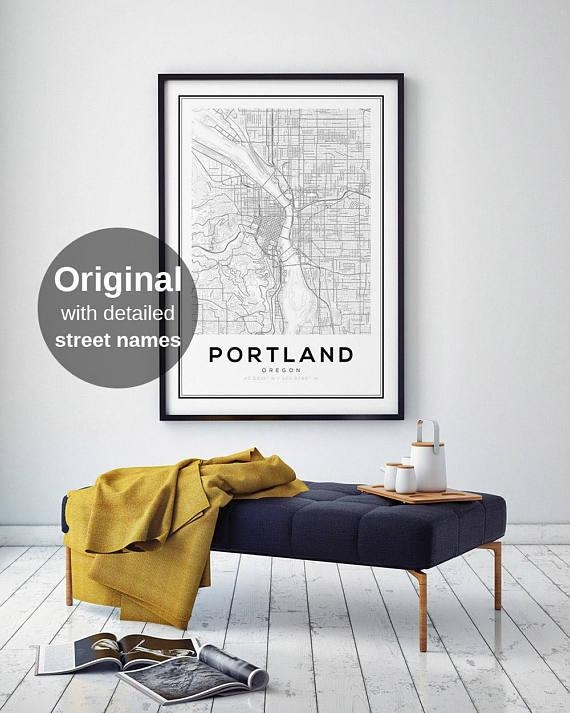 Portland City Map Print Oregon Map Print Us Map Print Map With Regard To Portland Map Wall Art (Image 10 of 20)