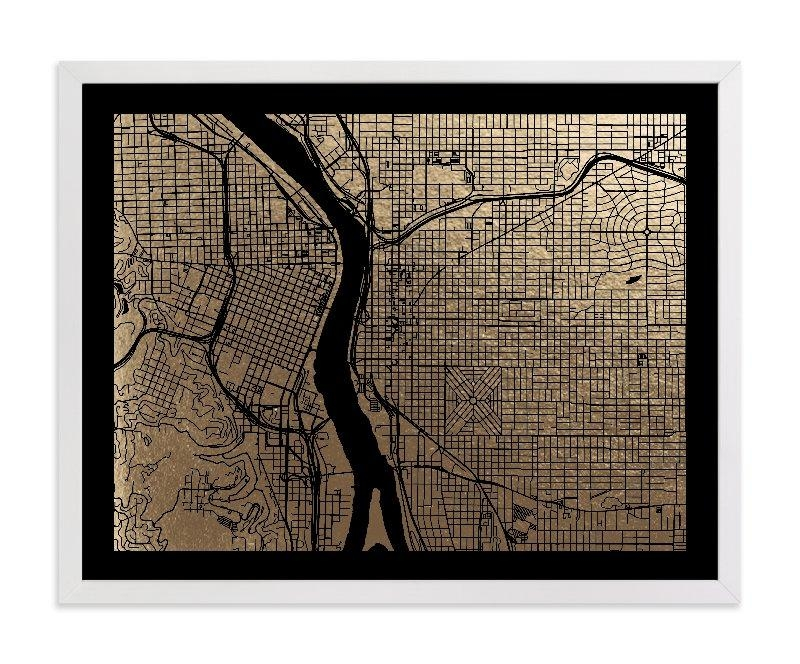 Portland Map Foil Pressed Wall Artalex Elko Design | Minted With Portland Map Wall Art (Image 11 of 20)