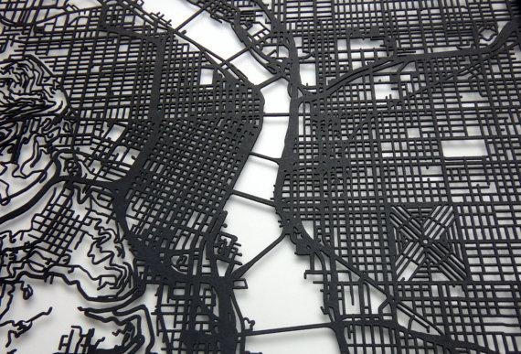 Portland Map Laser Cut Map Portland Oregon Map Of Portland Inside Portland Map Wall Art (Image 13 of 20)