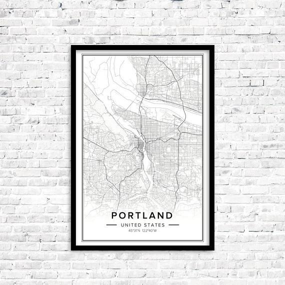 Portland Map Portland Art Portland Print Portland Poster For Portland Map Wall Art (View 8 of 20)