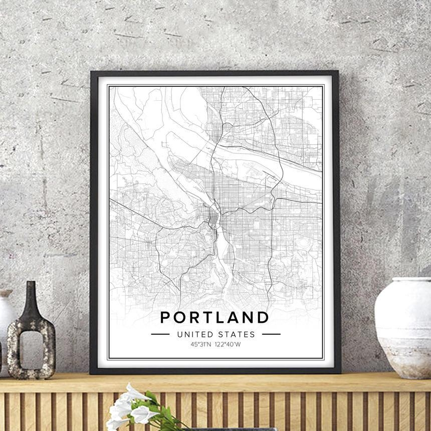 Portland Map Portland Art Portland Print Portland Poster With Portland Map Wall Art (Image 15 of 20)