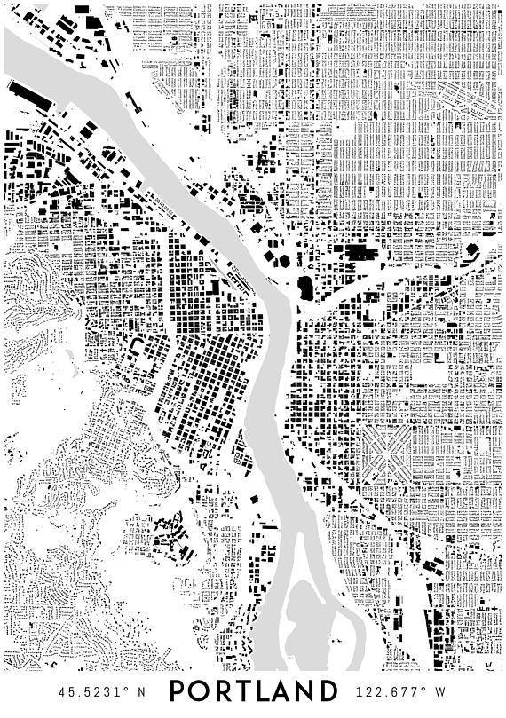 Portland Map Print Printable Portland Map Art Portland Intended For Portland Map Wall Art (Image 16 of 20)