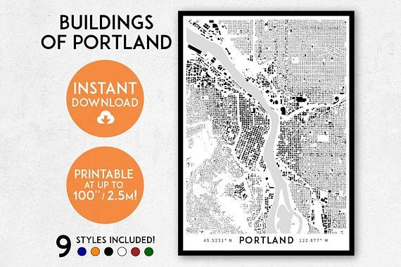 Portland Map Print Printable Portland Map Art Portland With Regard To Portland Map Wall Art (Image 17 of 20)