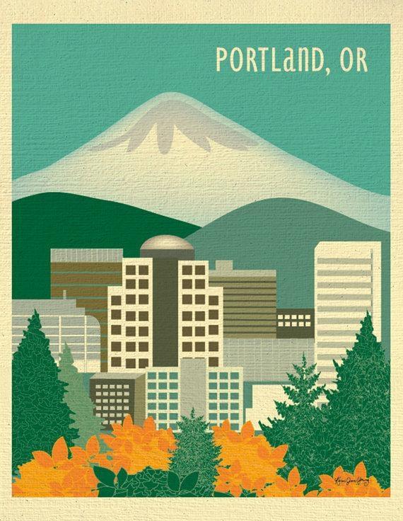 Portland Or Skyline Print Portland Map Portland Or Gift Mt (View 15 of 20)