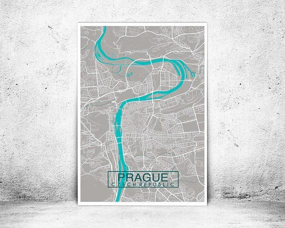 Prague City Map Print Custom Map Print Map Wall Art Map Intended For Custom Map Wall Art (View 15 of 20)