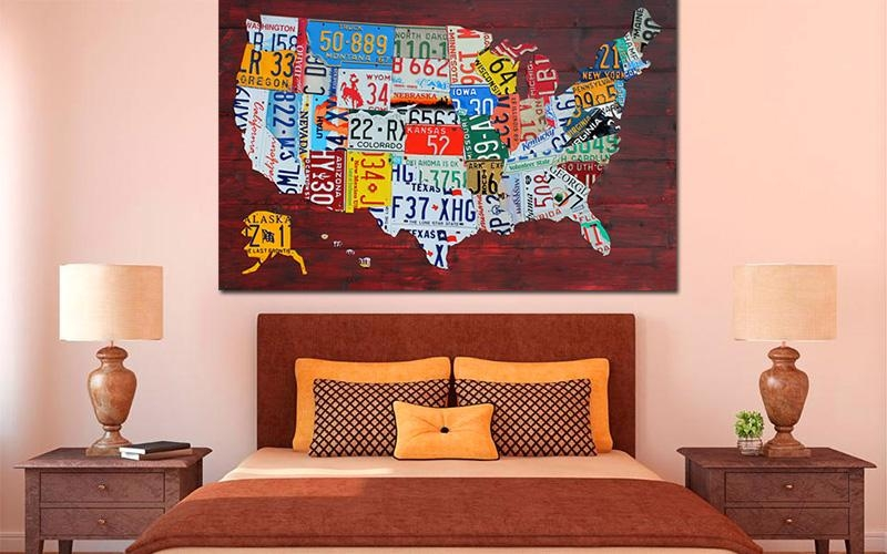 Purchase License Plate Art And License Plate Mapsdesign Turnpike With License Plate Map Wall Art (Image 8 of 20)