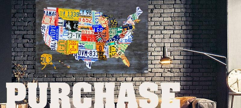 Purchase License Plate Art And License Plate Mapsdesign Turnpike With License Plate Map Wall Art (Image 9 of 20)