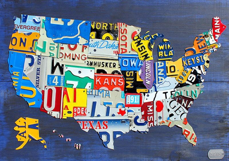 Purchase License Plate Art And License Plate Mapsdesign Turnpike With License Plate Map Wall Art (Image 7 of 20)