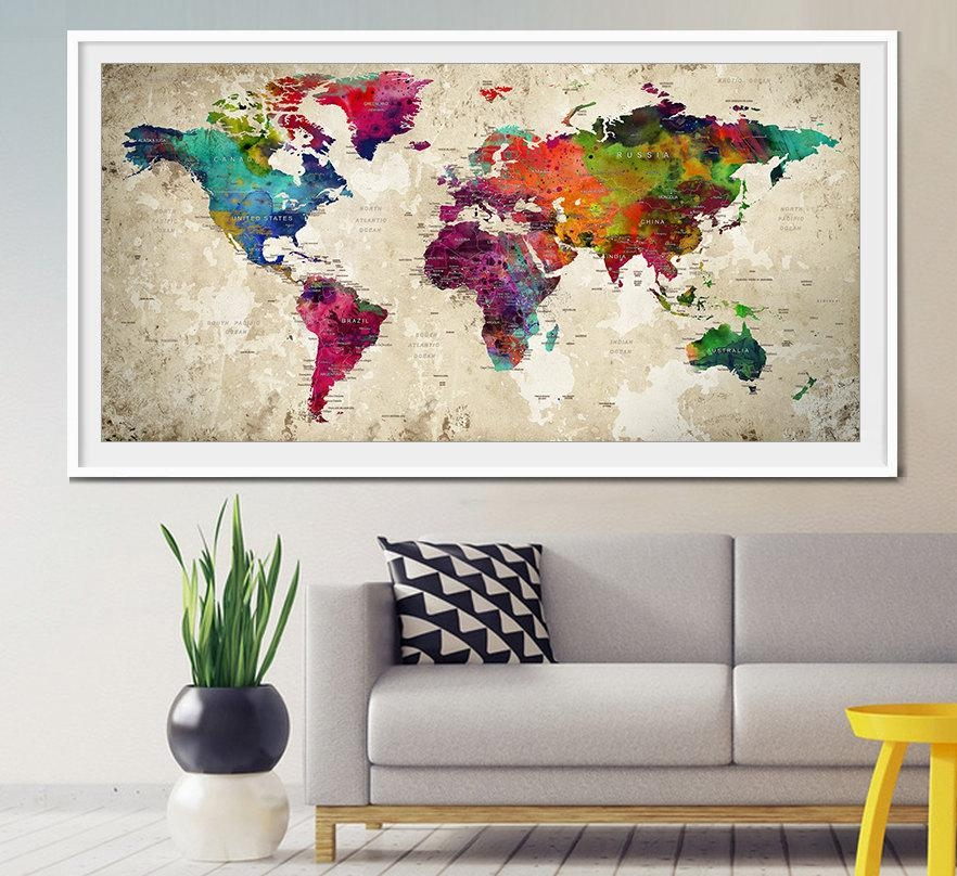 Push Pin World Map Large Push Pin Travel World Map World Within World Map Wall Art Print (View 2 of 20)
