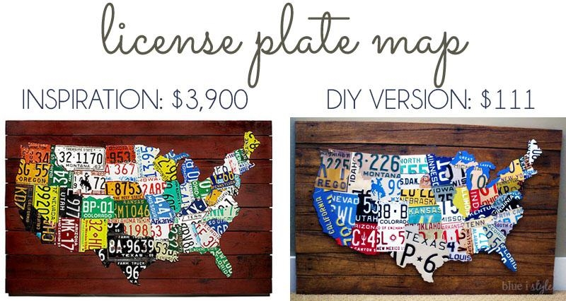 Remodelaholic | License Plate Map Wall Art For License Plate Map Wall Art (Image 10 of 20)