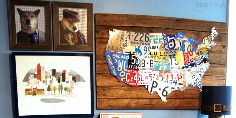 Remodelaholic | License Plate Map Wall Art Regarding License Plate Map Wall Art (Image 12 of 20)