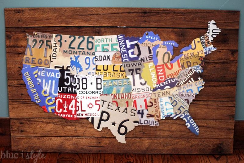 Remodelaholic | License Plate Map Wall Art Regarding License Plate Map Wall Art (Image 11 of 20)