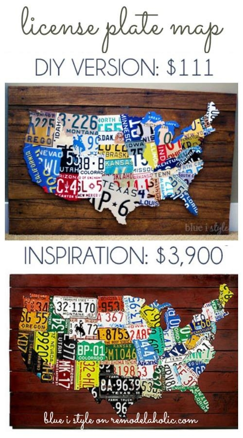 Remodelaholic | License Plate Map Wall Art With Regard To License Plate Map Wall Art (Image 14 of 20)