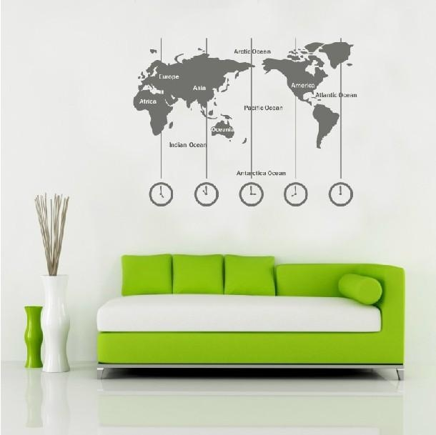 Removable Vinyl World Map Wall Decal Time Wall Art Clock Wall In World Map Wall Art Stickers (Image 8 of 20)