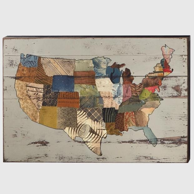 Rustic Usa Map Wall Art | Antique Farmhouse In Usa Map Wall Art (Image 5 of 20)