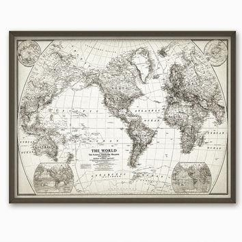 Rustic World Map Wall Art Poster – From Quantumprints On Etsy With Regard To World Map Wall Artwork (View 17 of 20)