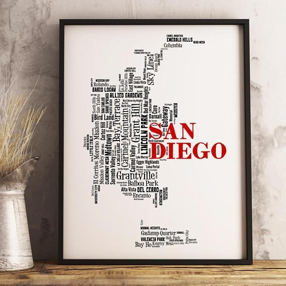 San Diego Map Art San Diego Art Print San Diego Neighborhood Intended For San Diego Map Wall Art (Image 14 of 20)