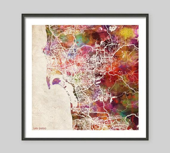 San Diego Map California Watercolor Painting Old Paper Throughout San Diego Map Wall Art (Image 15 of 20)