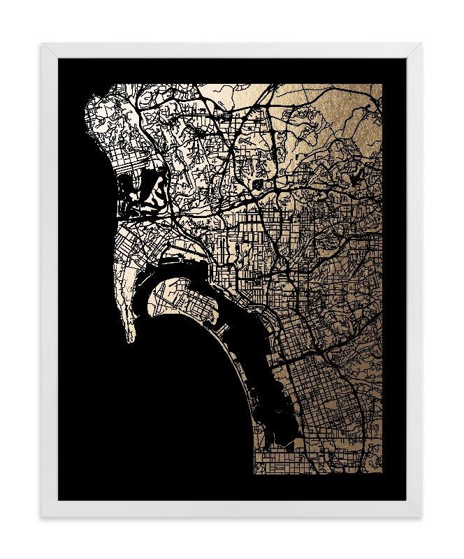 San Diego Map Foil Pressed Wall Artalex Elko Design | Minted Throughout San Diego Map Wall Art (Image 16 of 20)