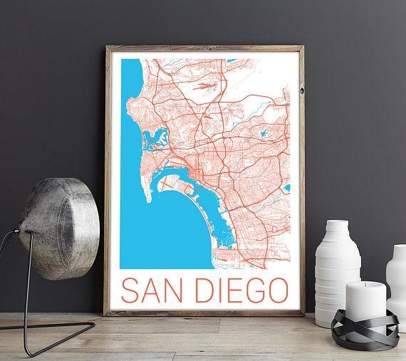 San Diego Map / San Diego Poster / San Diego Print / San Diego For San Diego Map Wall Art (View 11 of 20)