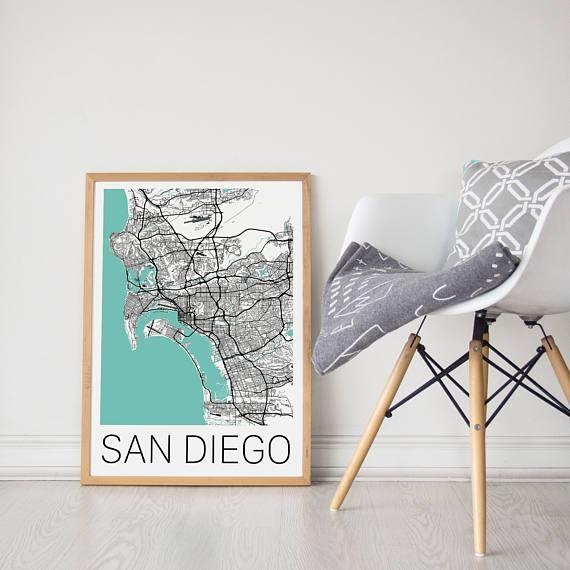 San Diego Map / San Diego Poster / San Diego Print / San Diego Within San Diego Map Wall Art (View 10 of 20)