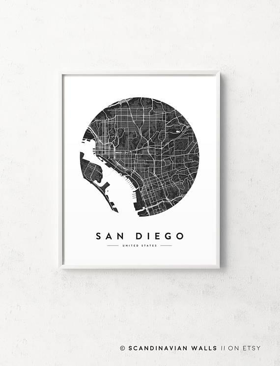 San Diego Map San Diego Print San Diego City Map San Diego Regarding San Diego Map Wall Art (View 18 of 20)