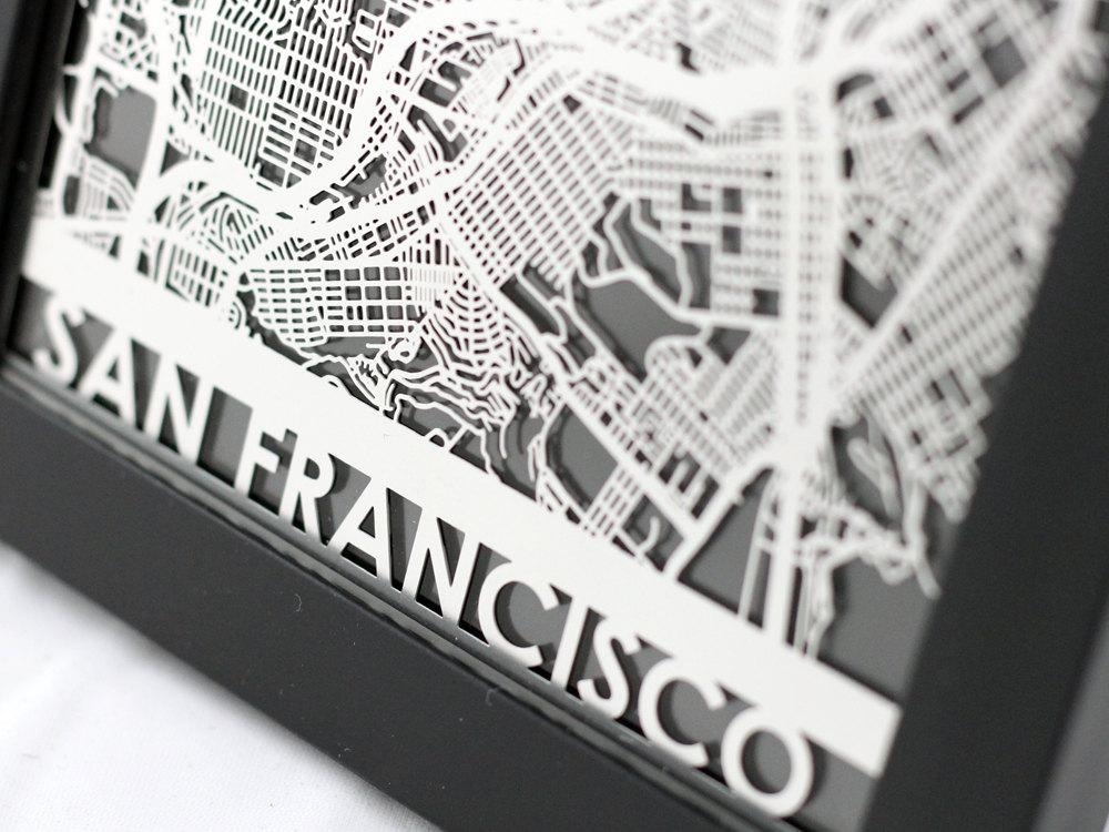 San Francisco California Stainless Steel Laser Cut Map For San Francisco Map Wall Art (Image 7 of 20)