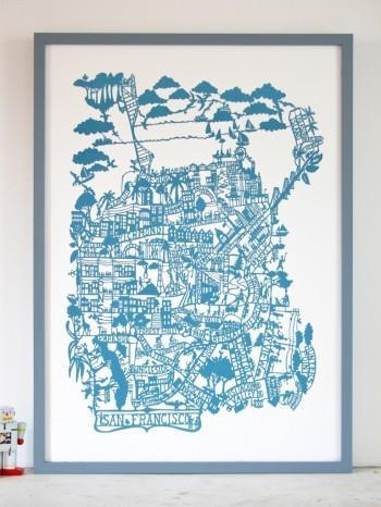 San Francisco Cerulean Blue Pertaining To San Francisco Map Wall Art (Image 8 of 20)
