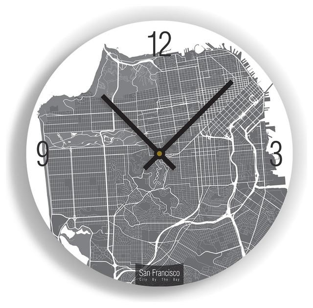 San Francisco Map Art Wall Clock – Unique Contemporary Art Wall Intended For San Francisco Map Wall Art (Image 9 of 20)