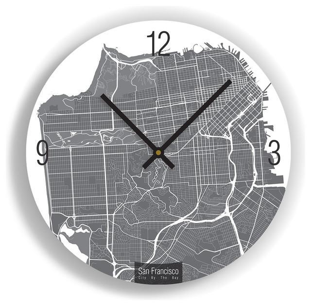San Francisco Map Art Wall Clock – Unique Contemporary Art Wall Intended For San Francisco Map Wall Art (Image 9 of 20)